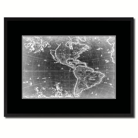 America Vintage Monochrome Map Canvas Print, Gifts Picture Frames Home Decor Wall Art