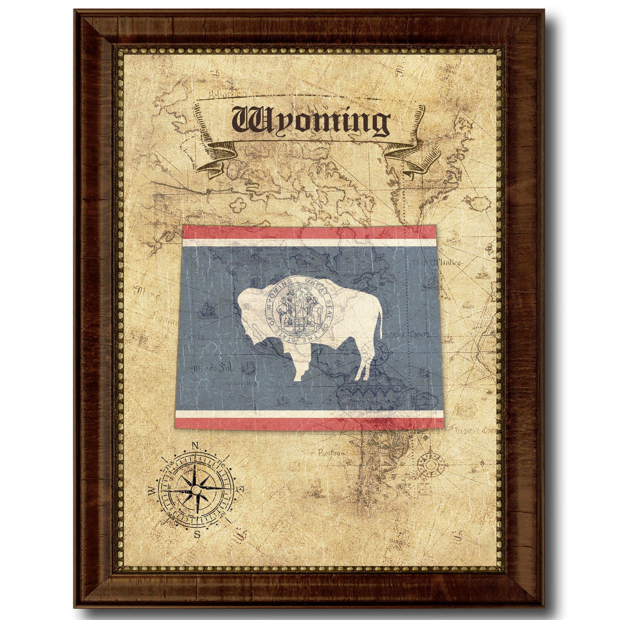 WyomingState Vintage MapArt Office Wall Home Decor Rustic Gift Ideas U2013  SpotColorArt