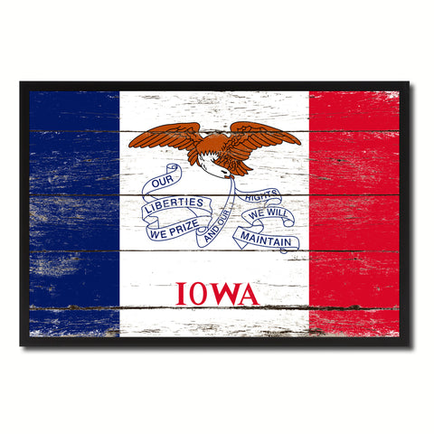 Iowa State Flag Vintage Canvas Print with Black Picture Frame Home DecorWall Art Collectible Decoration Artwork Gifts