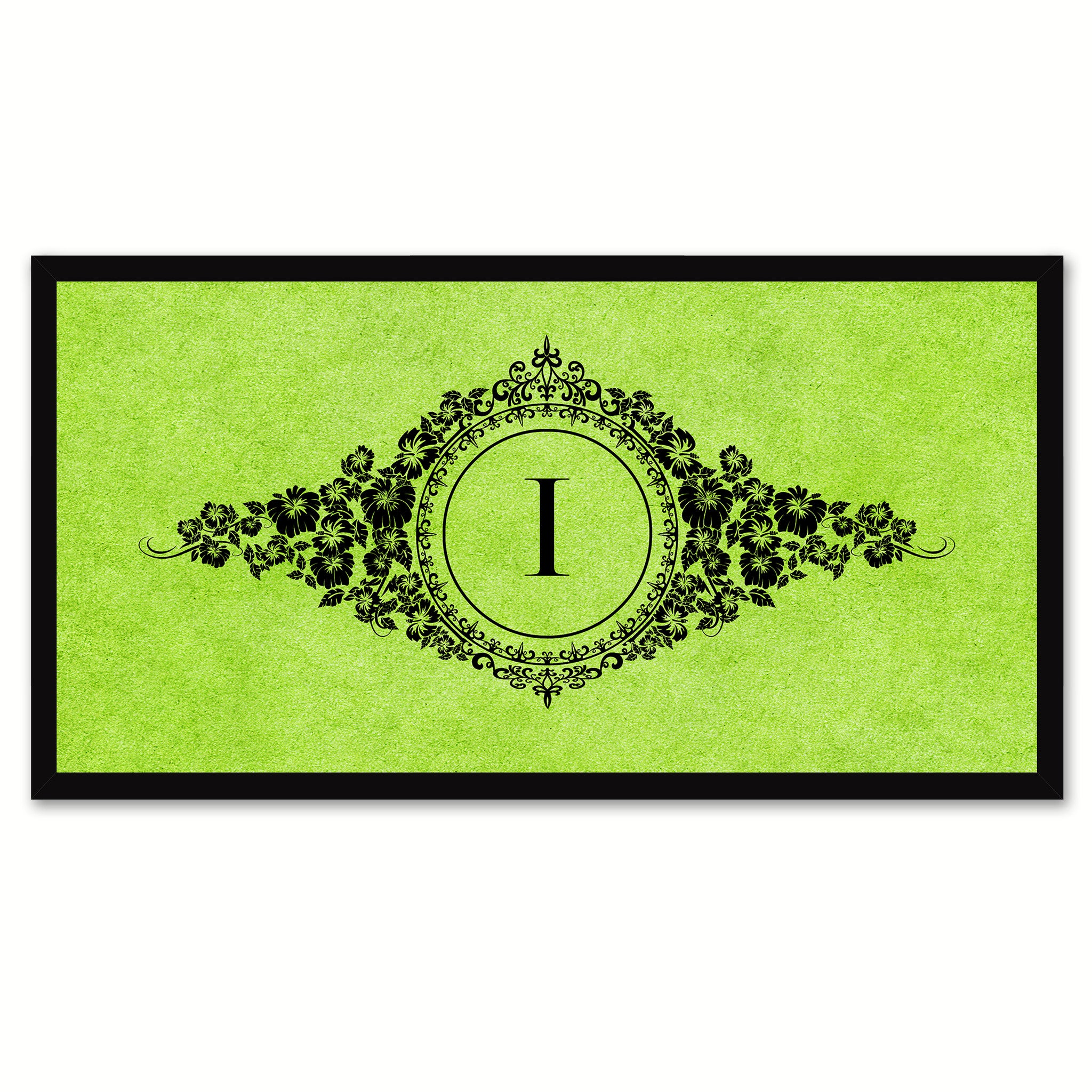 Alphabet Letter I Green Canvas Print, Black Custom Frame