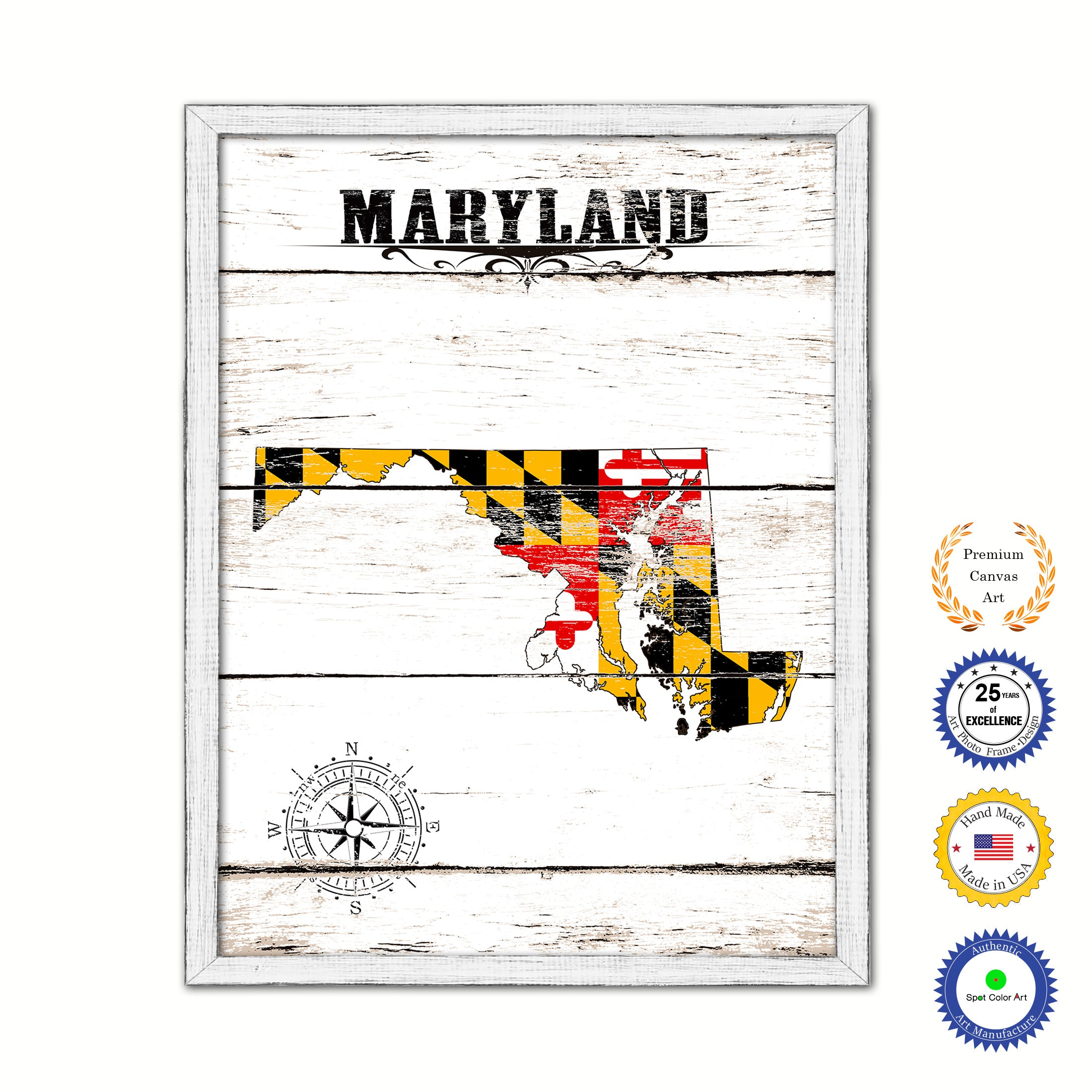 Maryland State Shabby Chic Flag Home Decor Office Wall Art Collection Bedroom Livingroom Decoration Gift Ideas SpotColorArt