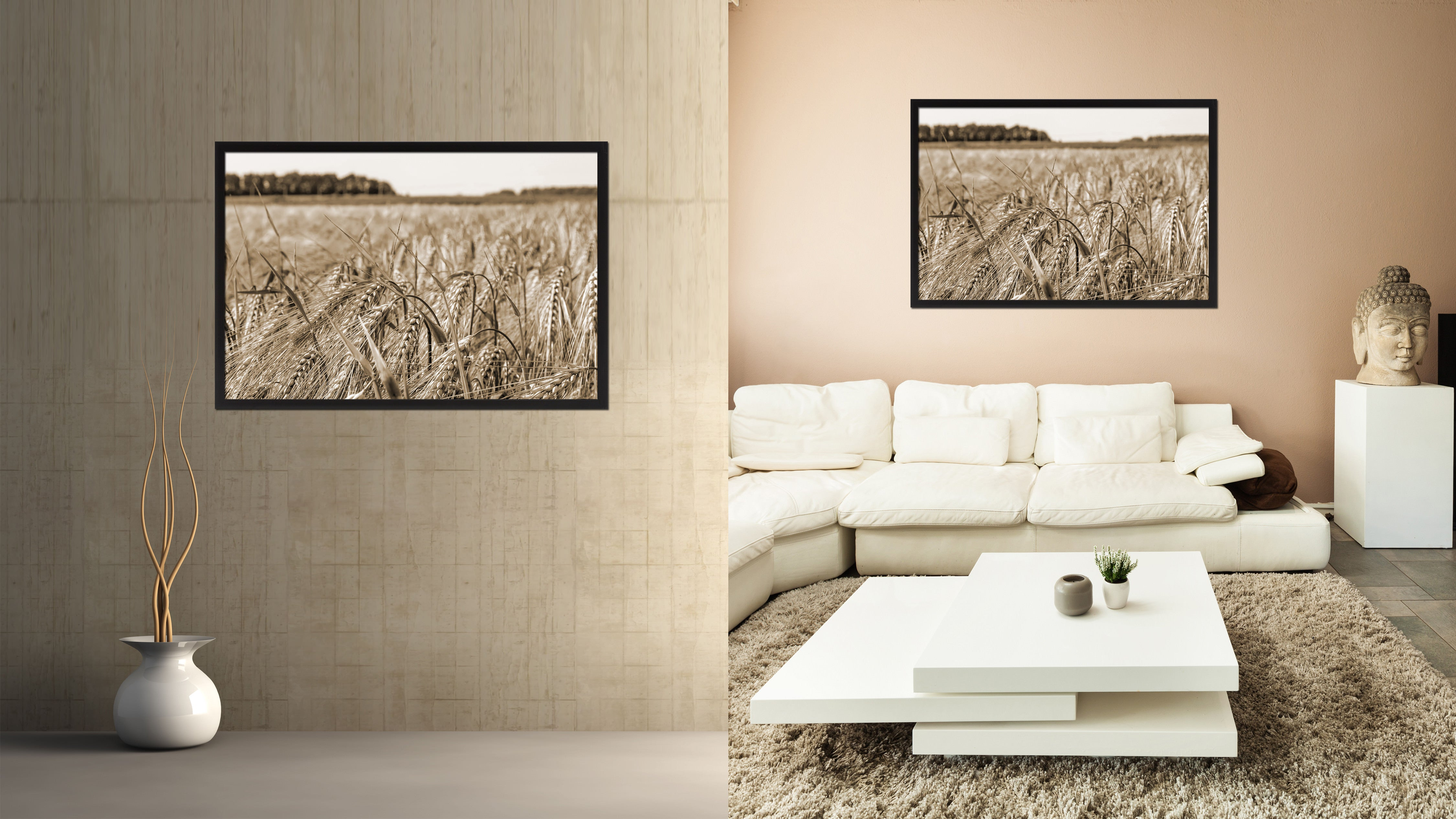Barley paddy Sepia Landscape decor, National Park, Sightseeing, Attractions, Black Frame