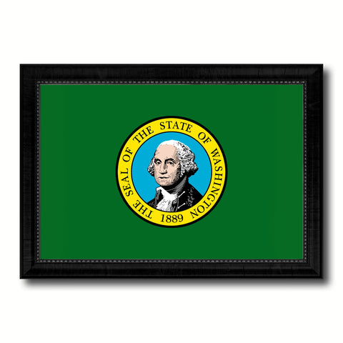 Washington State Flag Canvas Print with Custom Black Picture Frame Home Decor Wall Art Decoration Gifts
