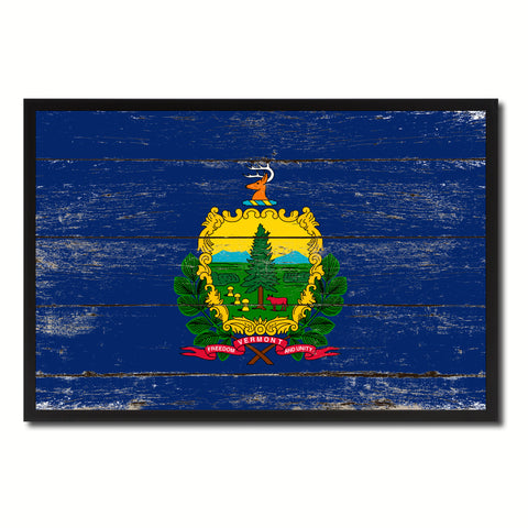 Vermont State Flag Vintage Canvas Print with Black Picture Frame Home DecorWall Art Collectible Decoration Artwork Gifts