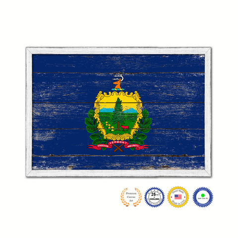 Vermont State Flag Shabby Chic Gifts Home Decor Wall Art Canvas Print, White Wash Wood Frame