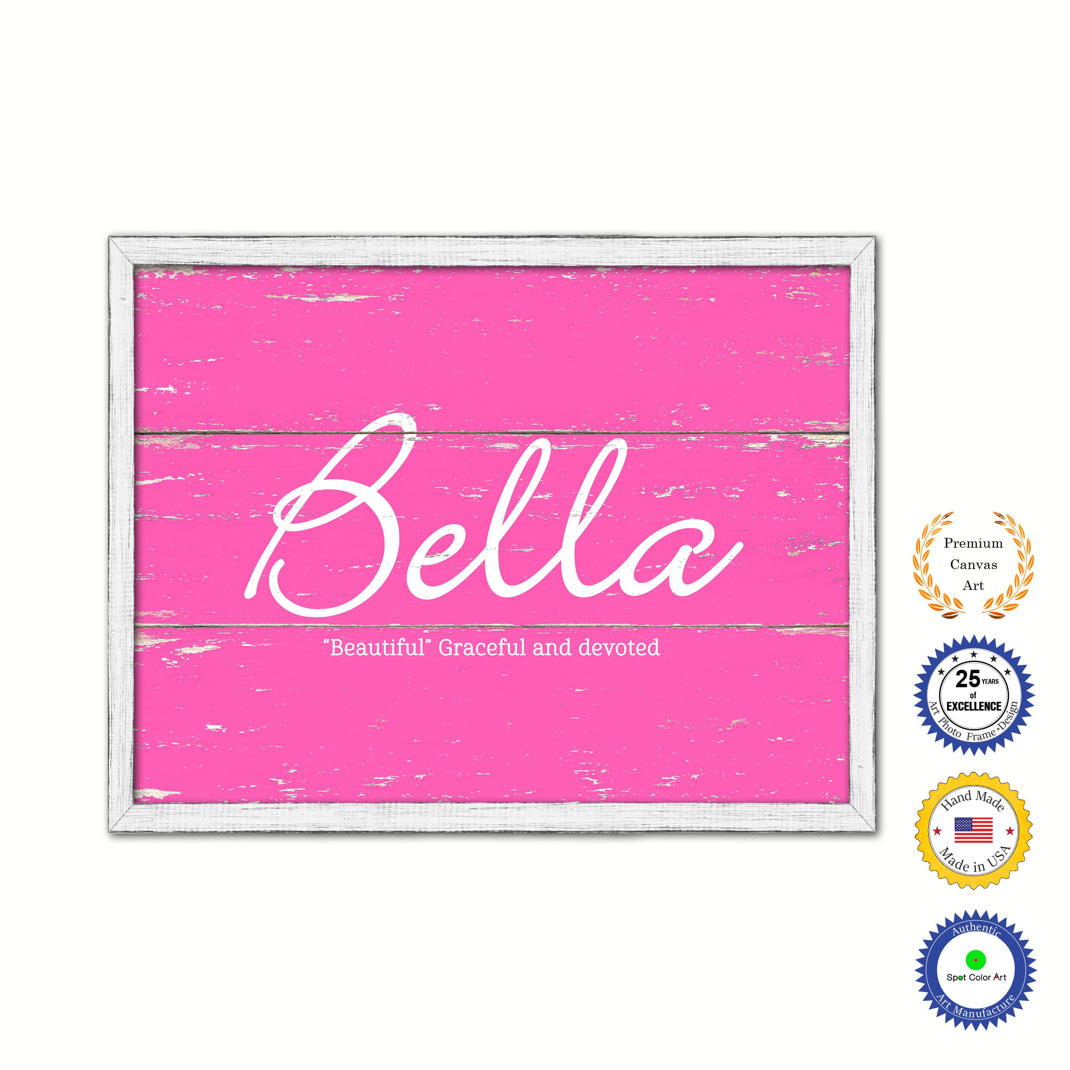 Bella Name Plate White Wash Wood Frame Canvas Print Boutique Cottage Decor Shabby Chic