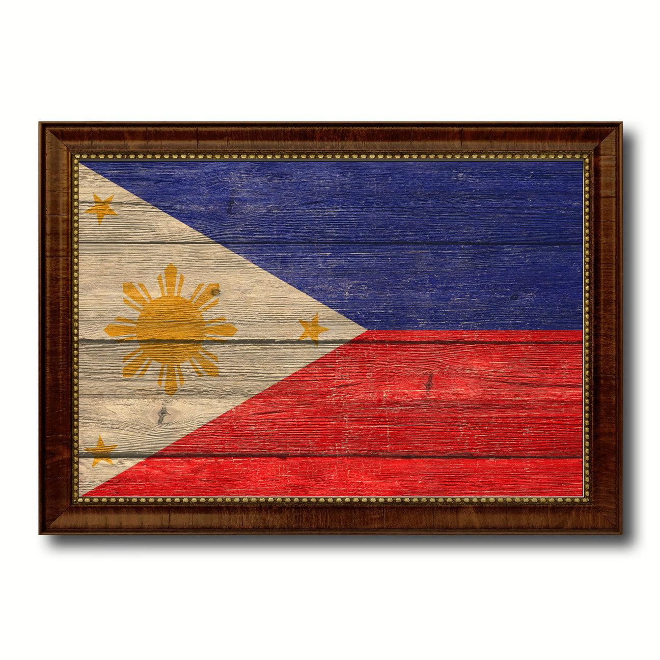 Philippines Country Flag Texture Canvas Print with Brown Custom Picture Frame Home Decor Gift Ideas Wall Art Decoration