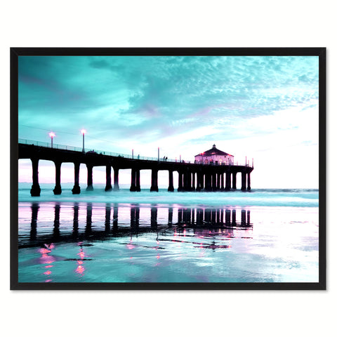 Manhattan Beach California Aqua Landscape Photo Canvas Print Pictures Frames Home Décor Wall Art Gifts
