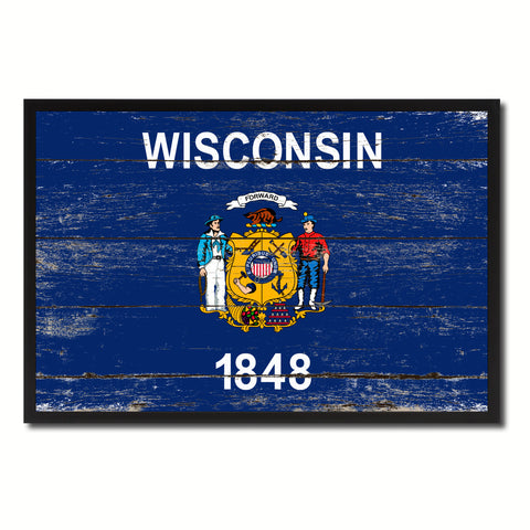 Wisconsin State Flag Vintage Canvas Print with Black Picture Frame Home DecorWall Art Collectible Decoration Artwork Gifts