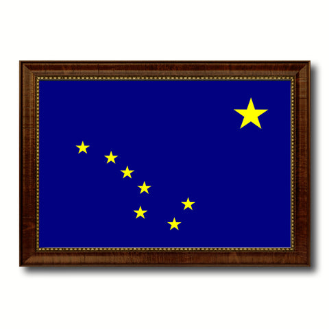 Alaska State Flag Canvas Print with Custom Brown Picture Frame Home Decor Wall Art Decoration Gifts
