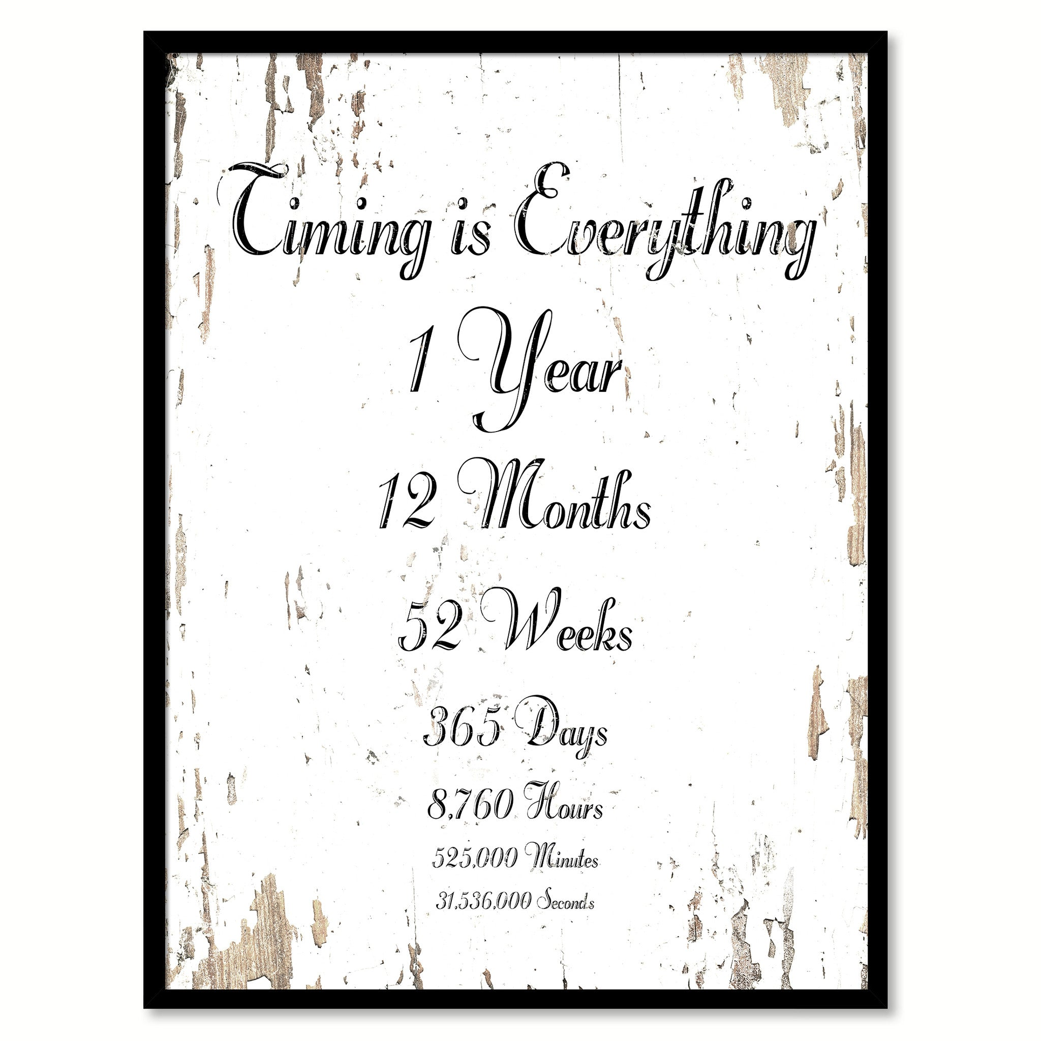 Timing is everything 1 Year 12 Months 52 Weeks 365 Days 8,760 Hours 525,000  Minutes 31,536,000 Seconds Quote Saying Canvas Print with Picture Frame  Home ...