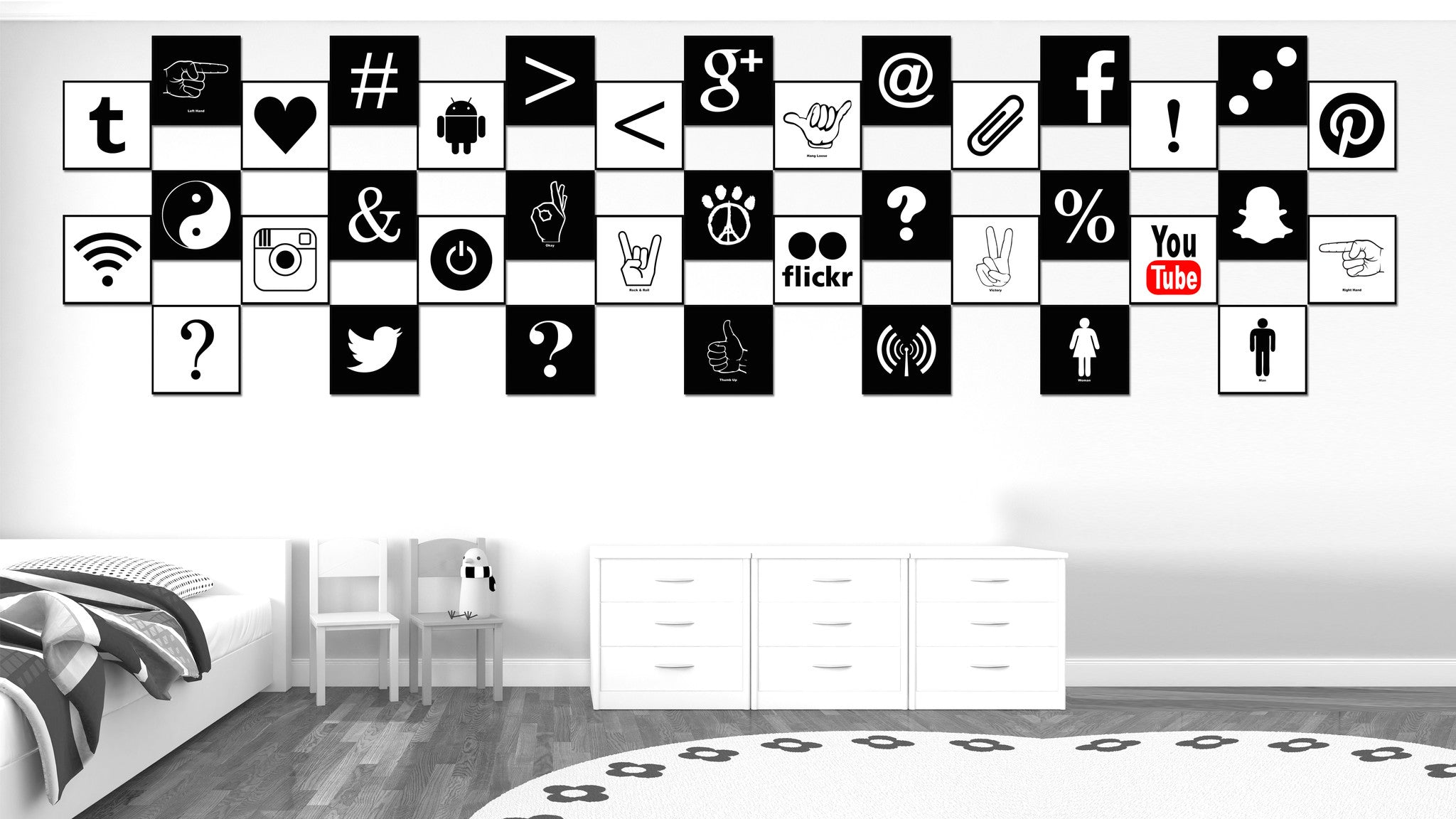 Hangloose Social Media Icon Canvas Print Picture Frame Wall Art Home Decor