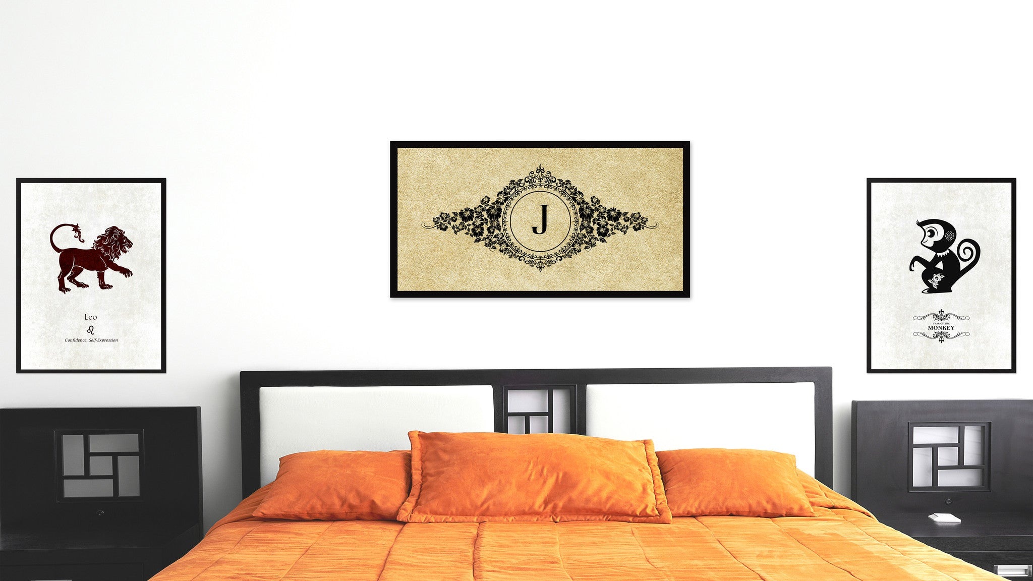 Alphabet Letter J Brown Canvas Print, Black Custom Frame