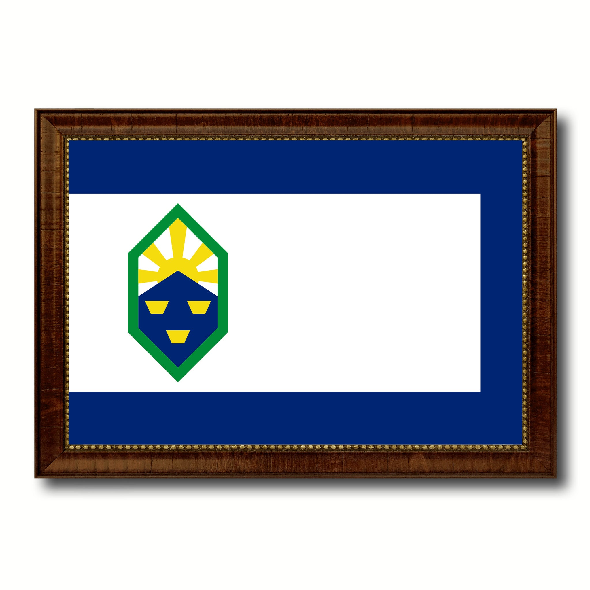 Colorado Springs City Colorado State Flag Canvas Print Brown Picture Frame