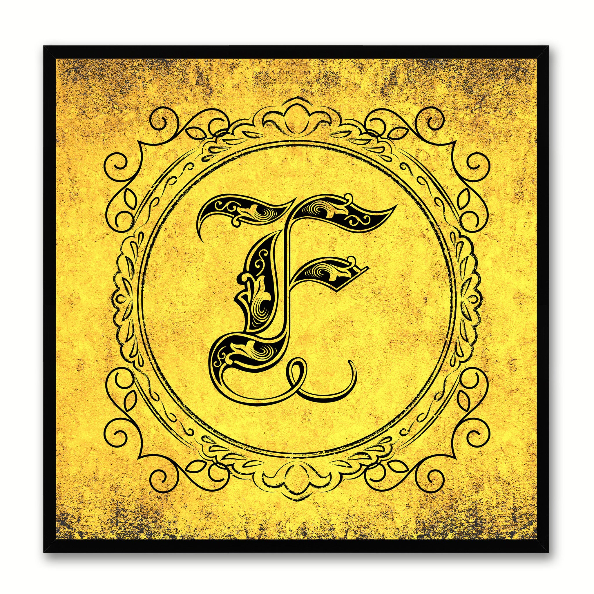 Alphabet F Yellow Canvas Print Black Frame Kids Bedroom Wall Décor Home Art