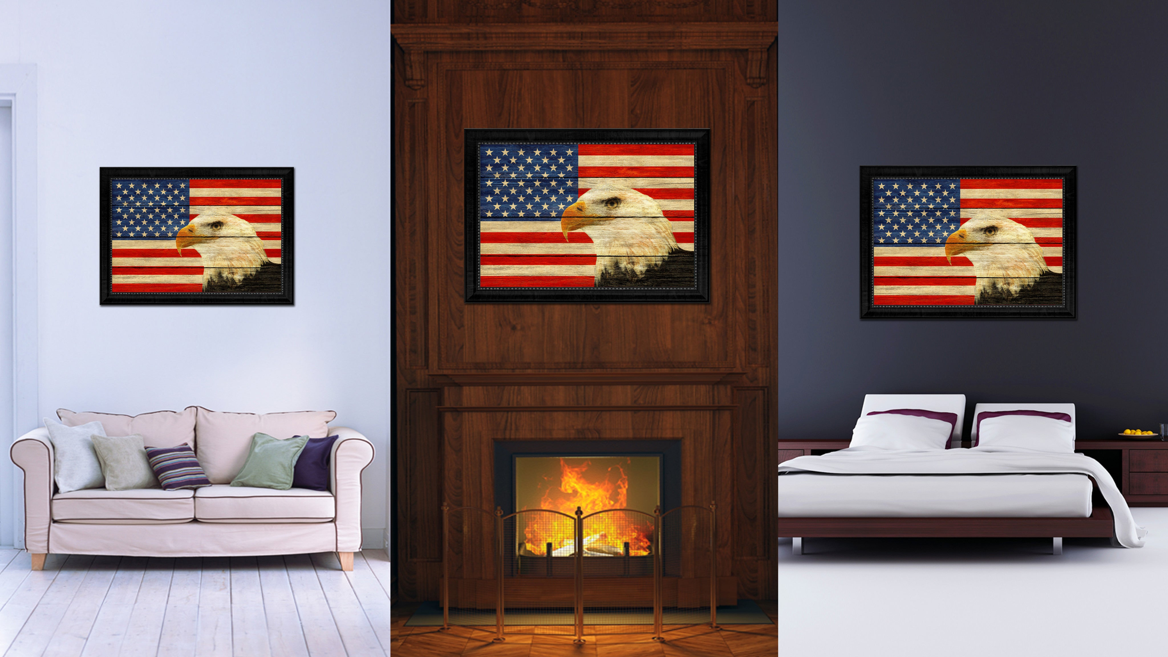 USA Eagle American Flag Texture Canvas Print With Black Picture Frame Home Decor Man Cave Wall