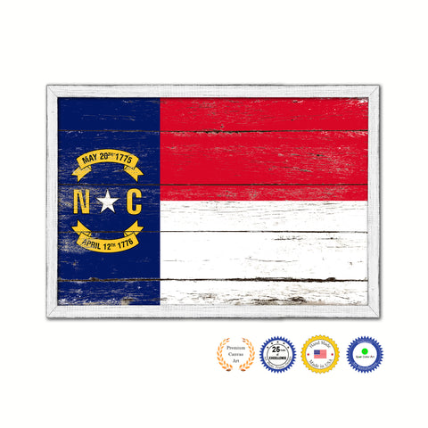 North Carolina State Flag Shabby Chic Gifts Home Decor Wall Art Canvas Print, White Wash Wood Frame