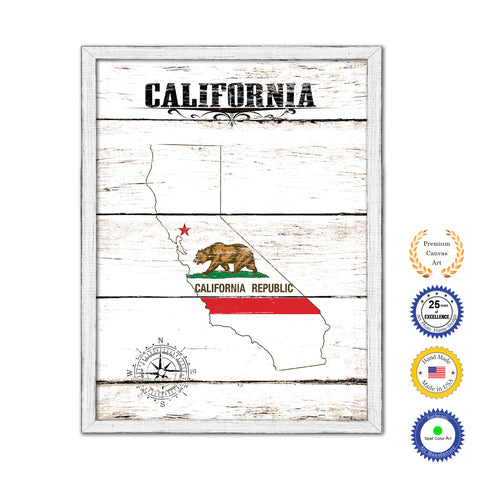 California Flag Gifts Home Decor Wall Art Canvas Print with Custom Picture Frame