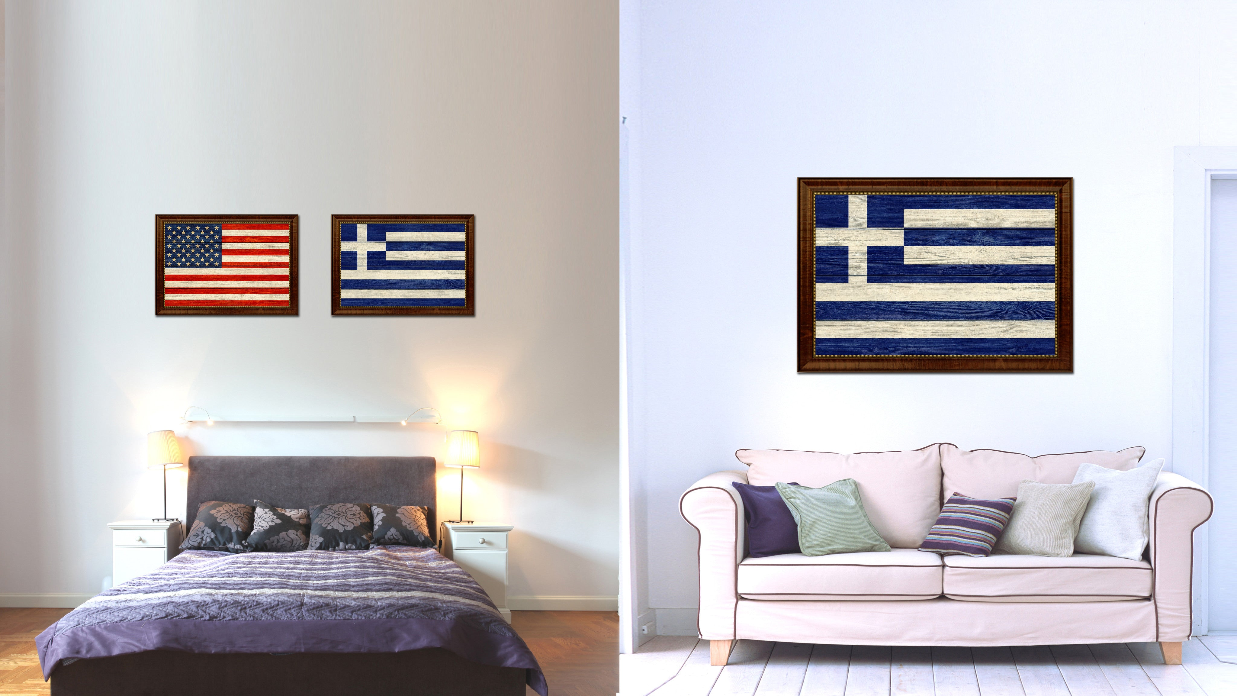 Greece Country Flag Texture Canvas Print with Brown Custom Picture Frame Home Decor Gift Ideas Wall Art Decoration