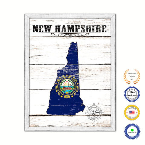 New Hampshire Flag Gifts Home Decor Wall Art Canvas Print with Custom Picture Frame