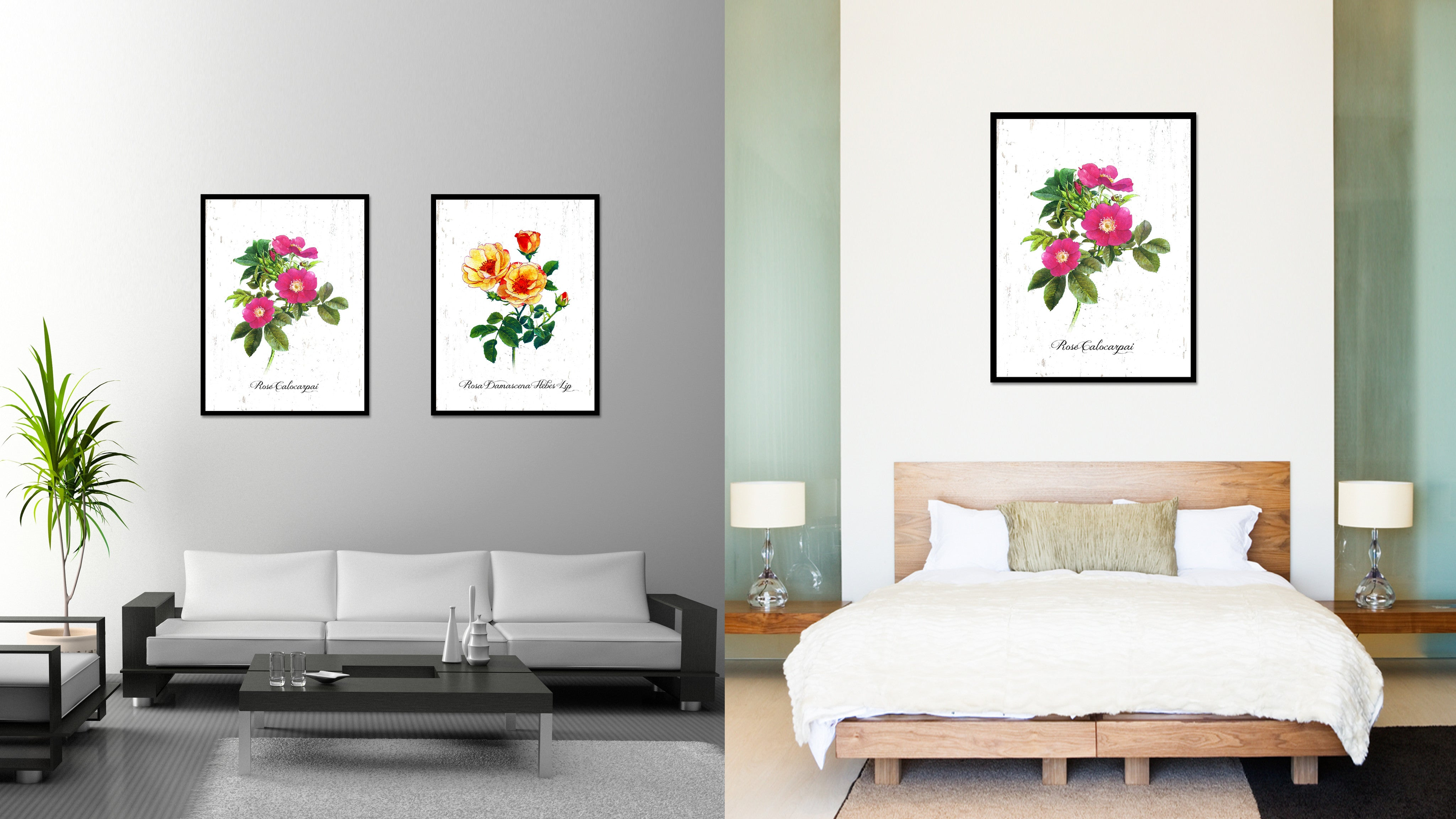 Pink Rose Flower Canvas Print With Picture Frame Floral Home Decor Wall Art Living Room Decoration