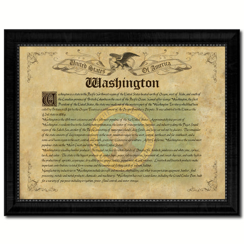 Washington Vintage History Flag Canvas Print, Picture Frame Gift Ideas Home Décor Wall Art Decoration