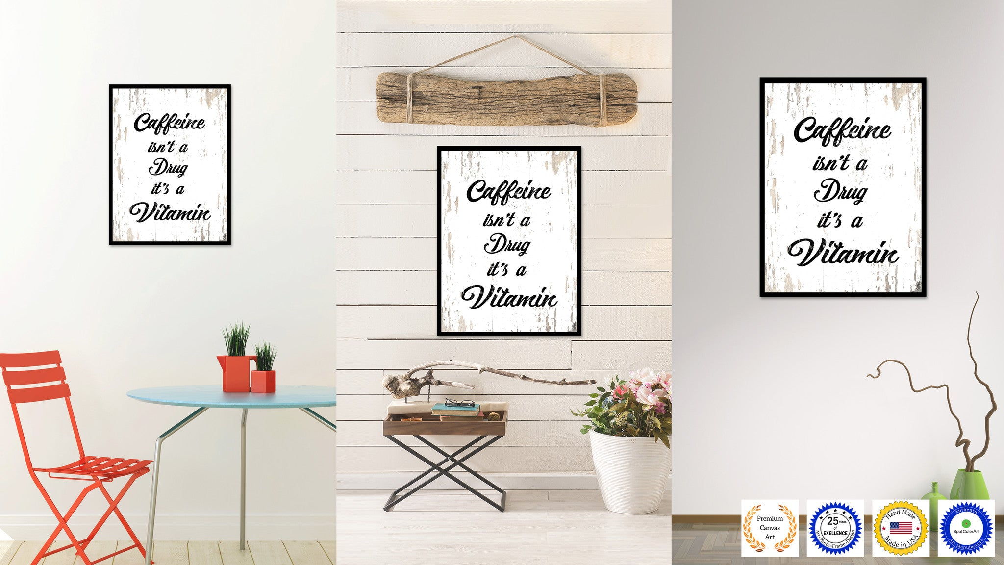 Caffeine Isn't A Drug It's A Vitamin Quote Saying Canvas Print with Picture Frame