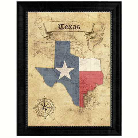 Texas State Vintage Map Gifts Home Decor Wall Art Office Decoration