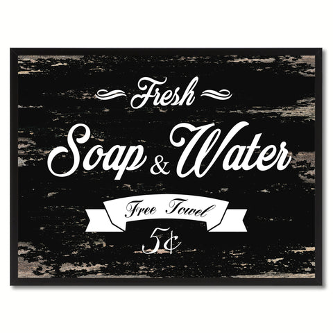 Fresh Soap & Water Vintage Sign Black Canvas Print Home Decor Wall Art Gifts Picture Frames