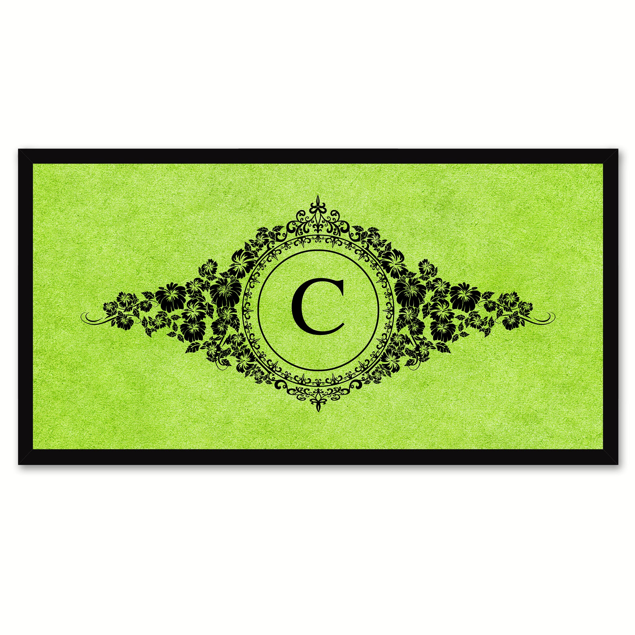Alphabet Letter C Green Canvas Print, Black Custom Frame