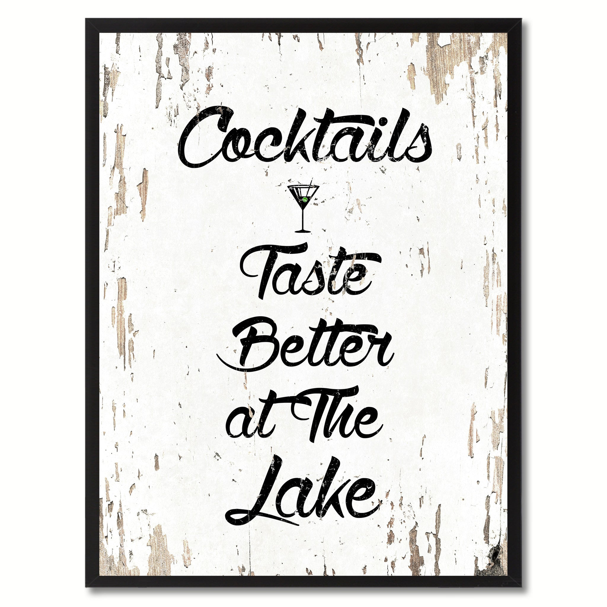 Cocktails Taste Better At The Lake Saying Canvas Print, Black Picture Frame Home Decor Wall Art Gifts