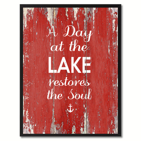 A Day At The Lake Restores The Soul Saying Canvas Print, Black Picture Frame Home Decor Wall Art Gifts