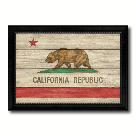 California State Flag Texture Canvas Print with Black Picture Frame Home Decor Man Cave Wall Art Collectible Decoration Artwork Gifts