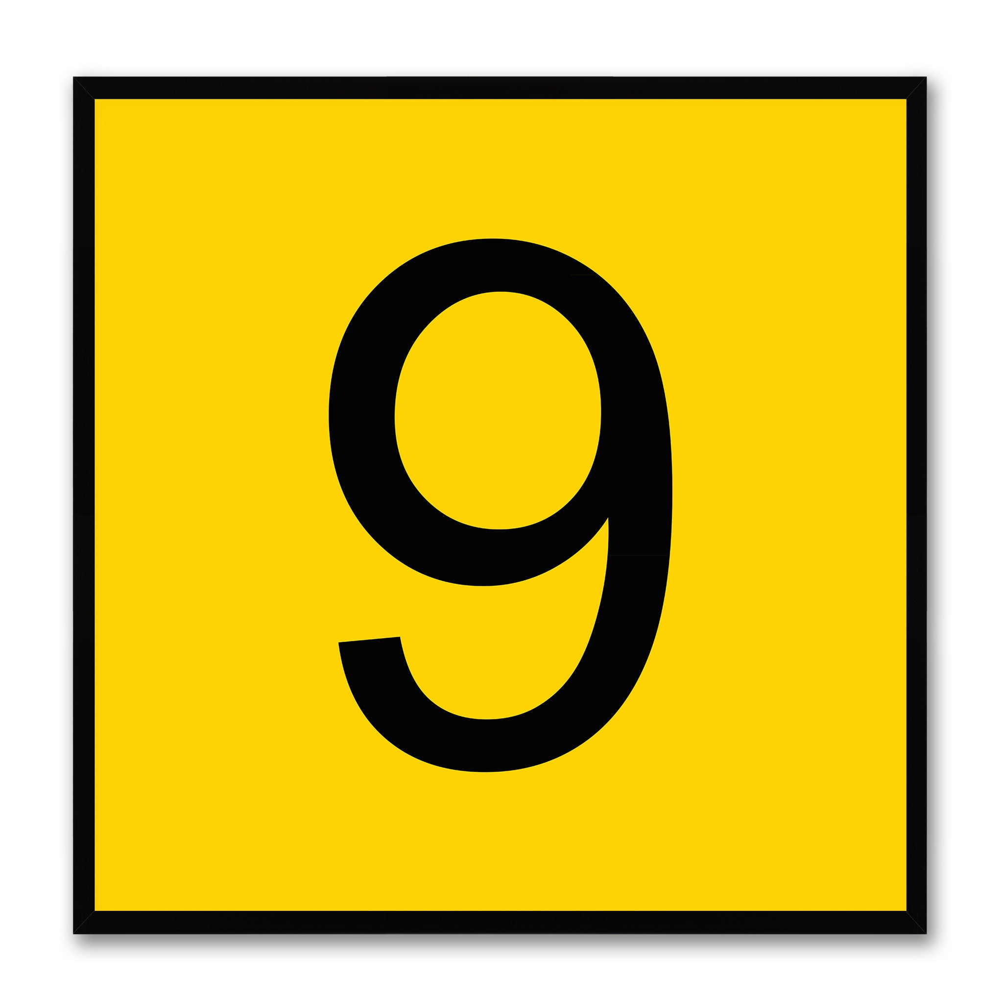 Number 9 Yellow Canvas Print Black Frame Kids Bedroom Wall Décor Home Art
