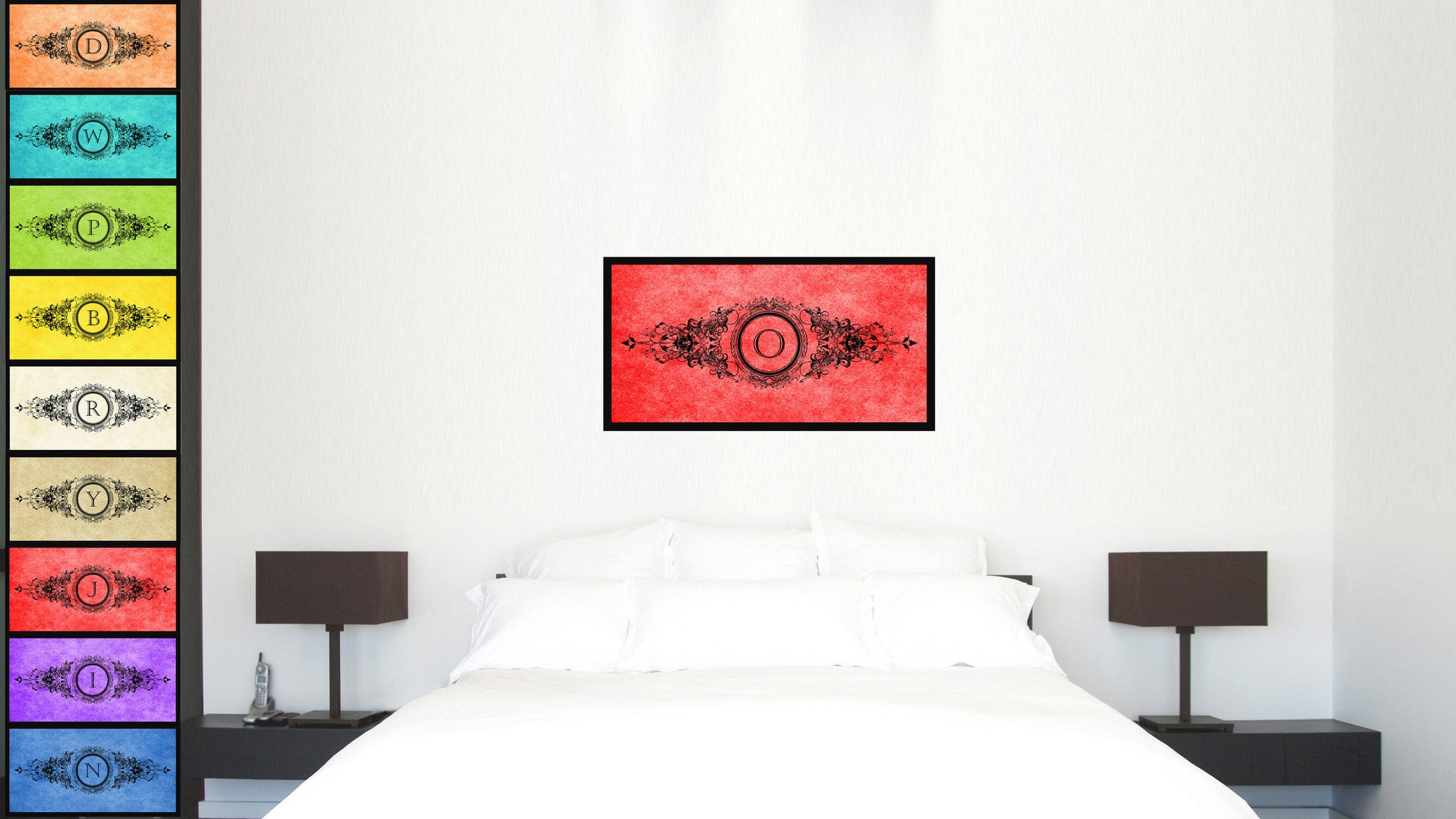 Alphabet Letter O Red Canvas Print, Black Custom Frame