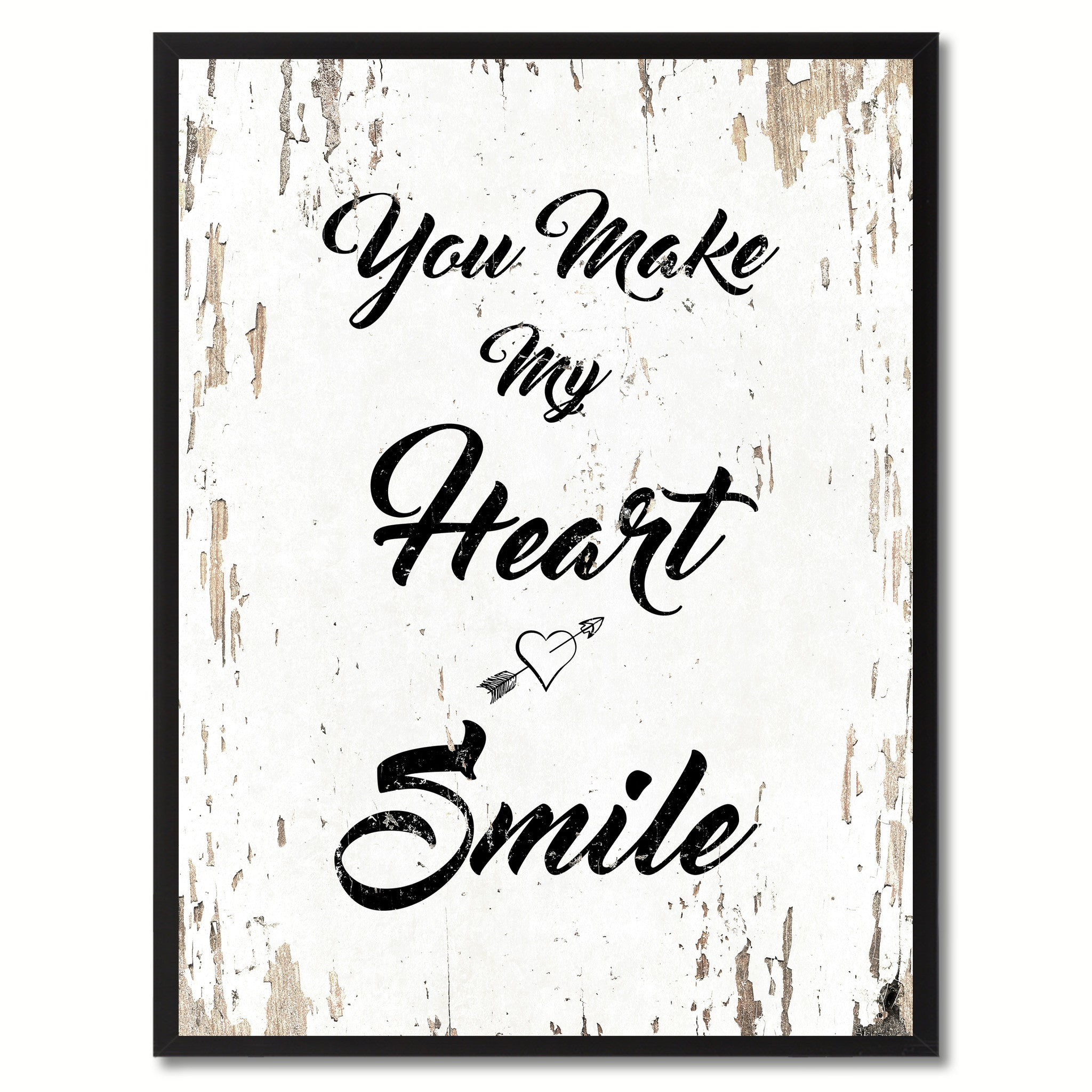 You make my heart smile Happy Quote Saying Gift Ideas Home Decor Wall Art,  White