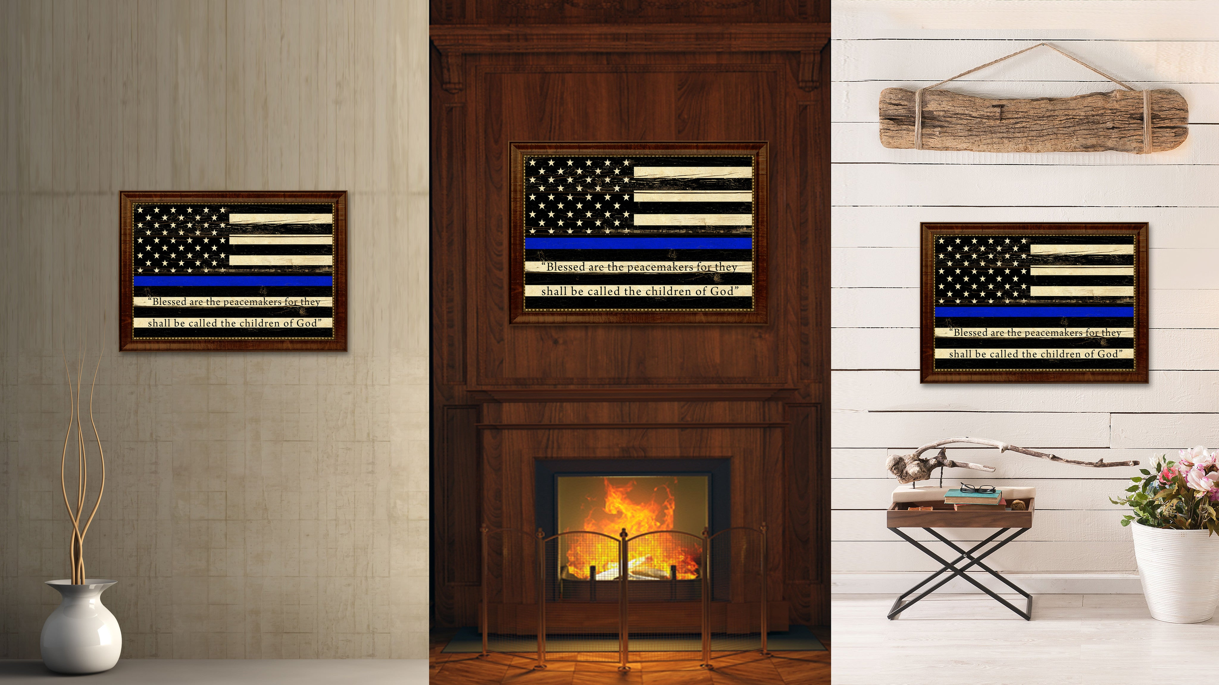 Law Enforcement Thin Blue Line Flag With Mathew 5:9 USA Flag Vintage Canvas Print with Brown Picture Frame Gifts Ideas Home Decor Wall Art Decoration