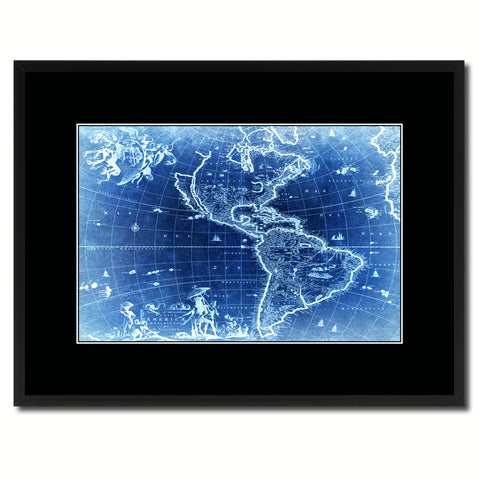 America Vintage Vivid Color Map Canvas Print, Picture Frame Home Decor Wall Art Office Decoration Gift Ideas