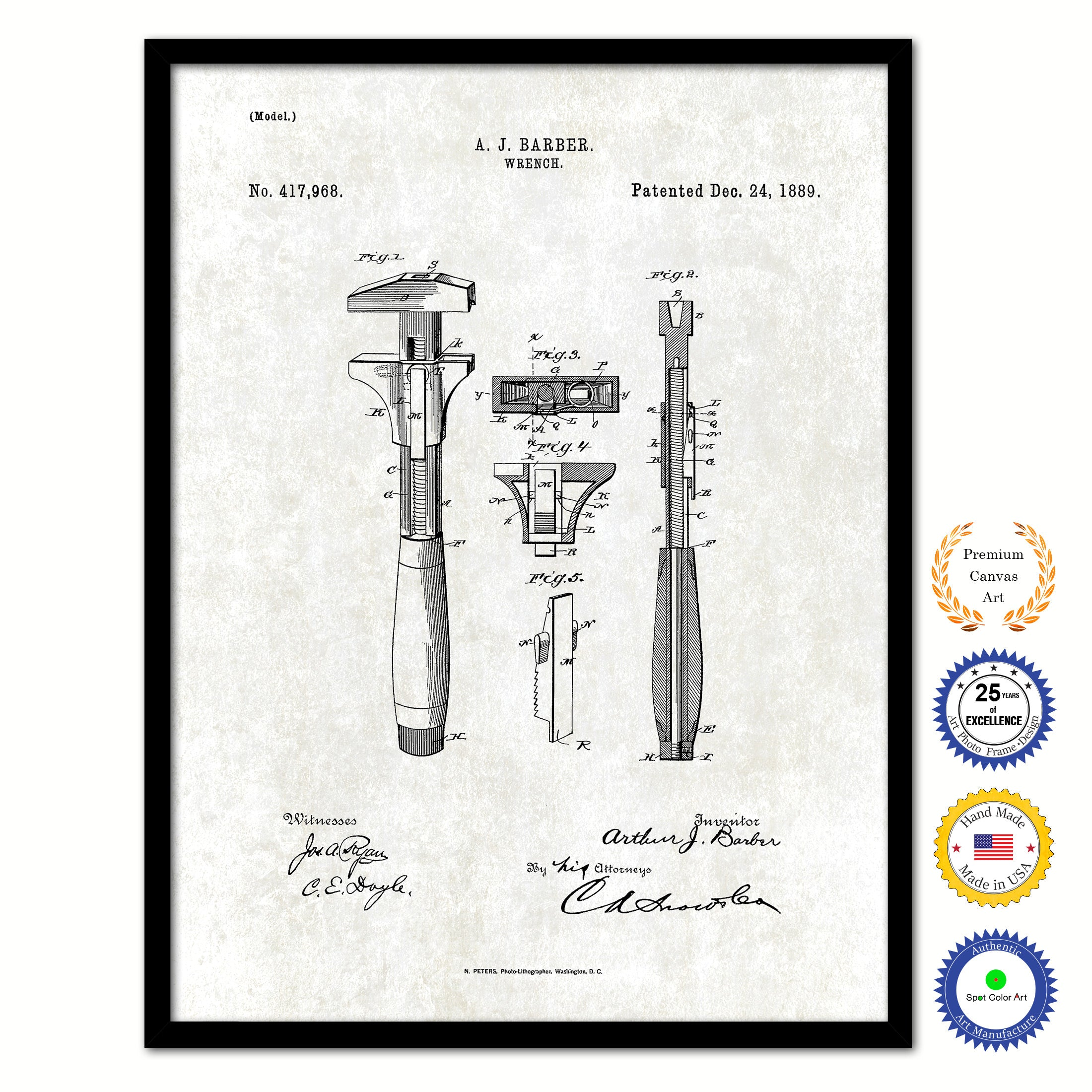 1889 Wrench Old Patent Art Print on Canvas Custom Framed Vintage Home Decor Wall Decoration Great for Gifts