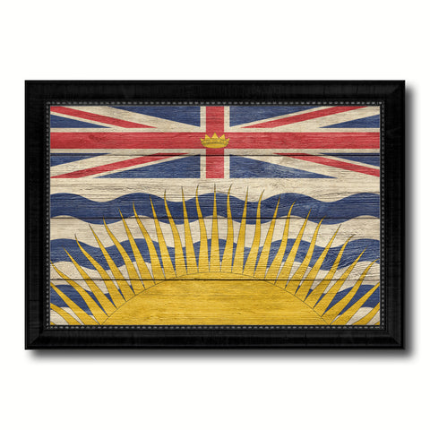 British Columbia Province City Canada Country Texture Flag Canvas Print Black Picture Frame