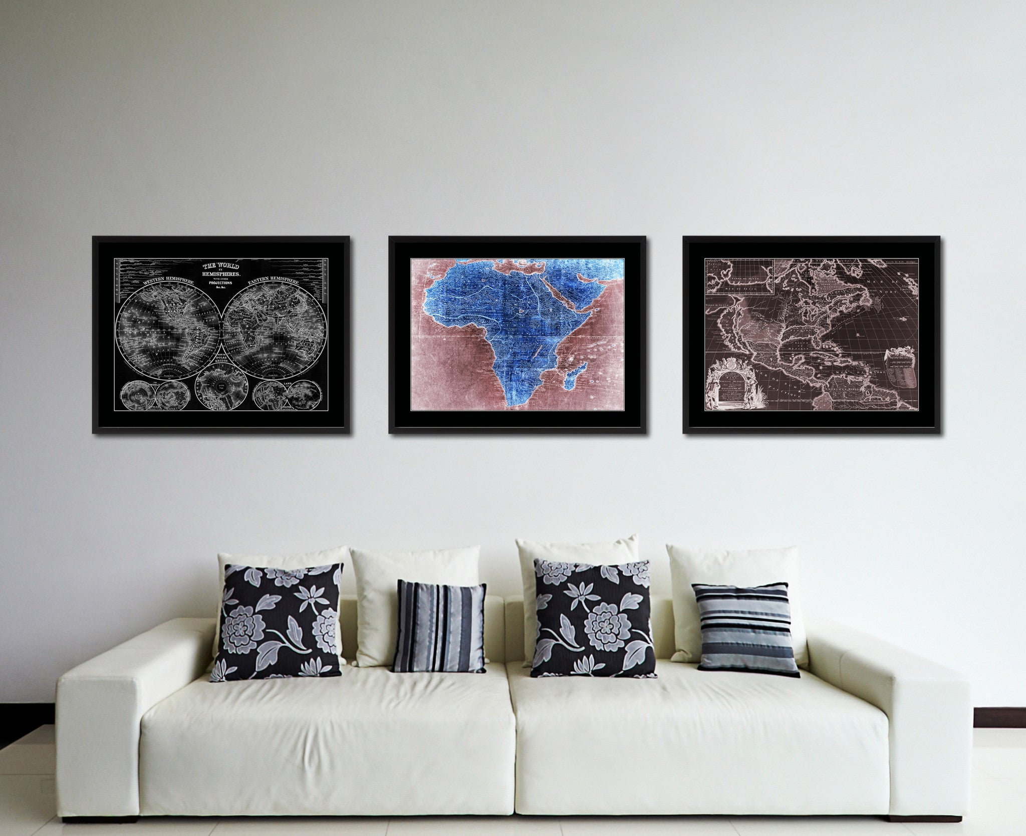Africa Mapmaker Vintage Vivid Color Map Canvas Print, Picture Frame Home Decor Wall Art Office Decoration Gift Ideas