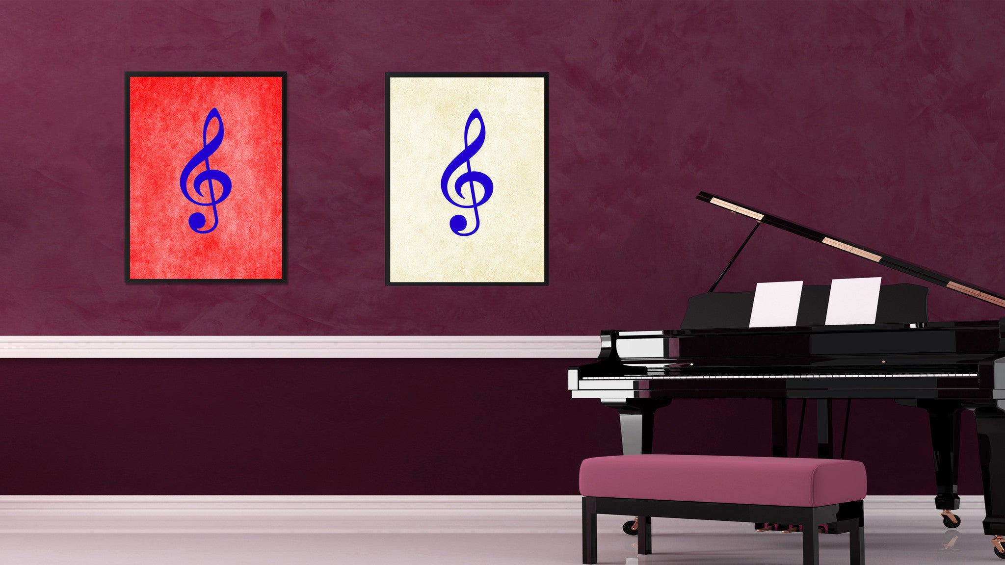 Treble Music White Canvas Print Pictures Frames Office Home Décor Wall Art Gifts