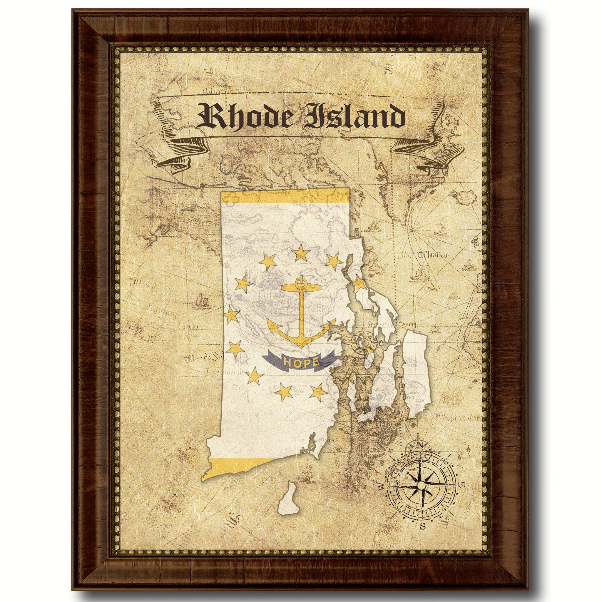 Rhode IslandState Vintage MapArt Office Wall Home Decor Rustic Gift ...