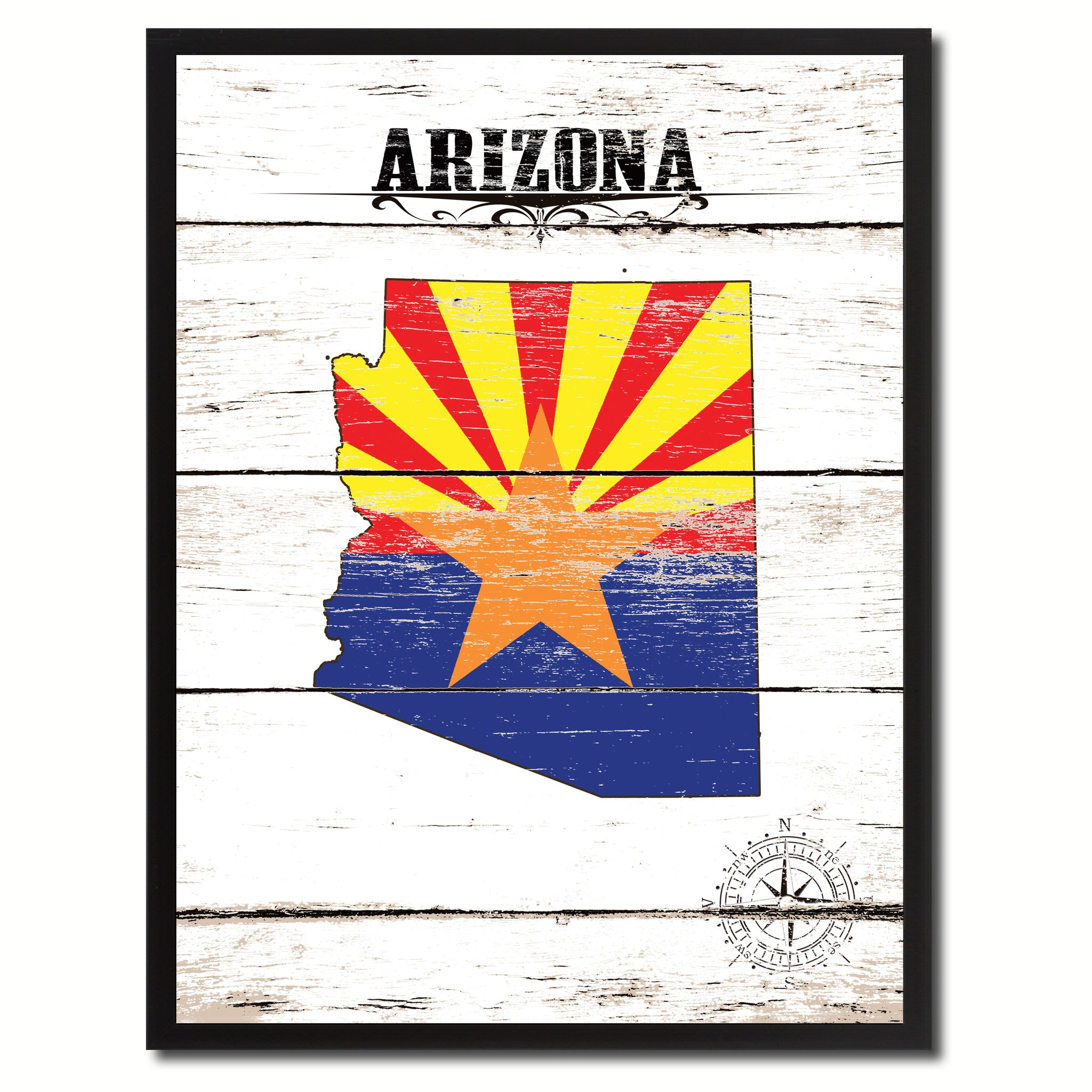 Arizona State Flag Gifts Home Decor Wall Art Canvas Print Picture Frames