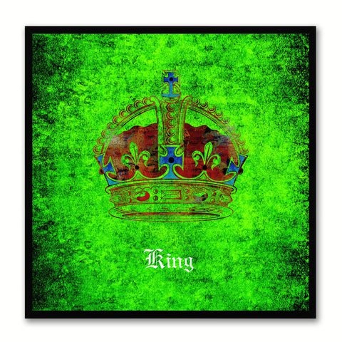 King Green Canvas Print Black Frame Kids Bedroom Wall Home Décor
