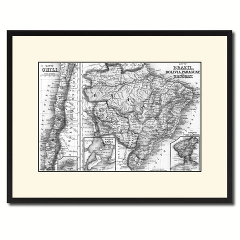 Afghanistan Persia Iraq Iran Vintage B&W Map Canvas Print, Picture Frame Home Decor Wall Art Gift Ideas