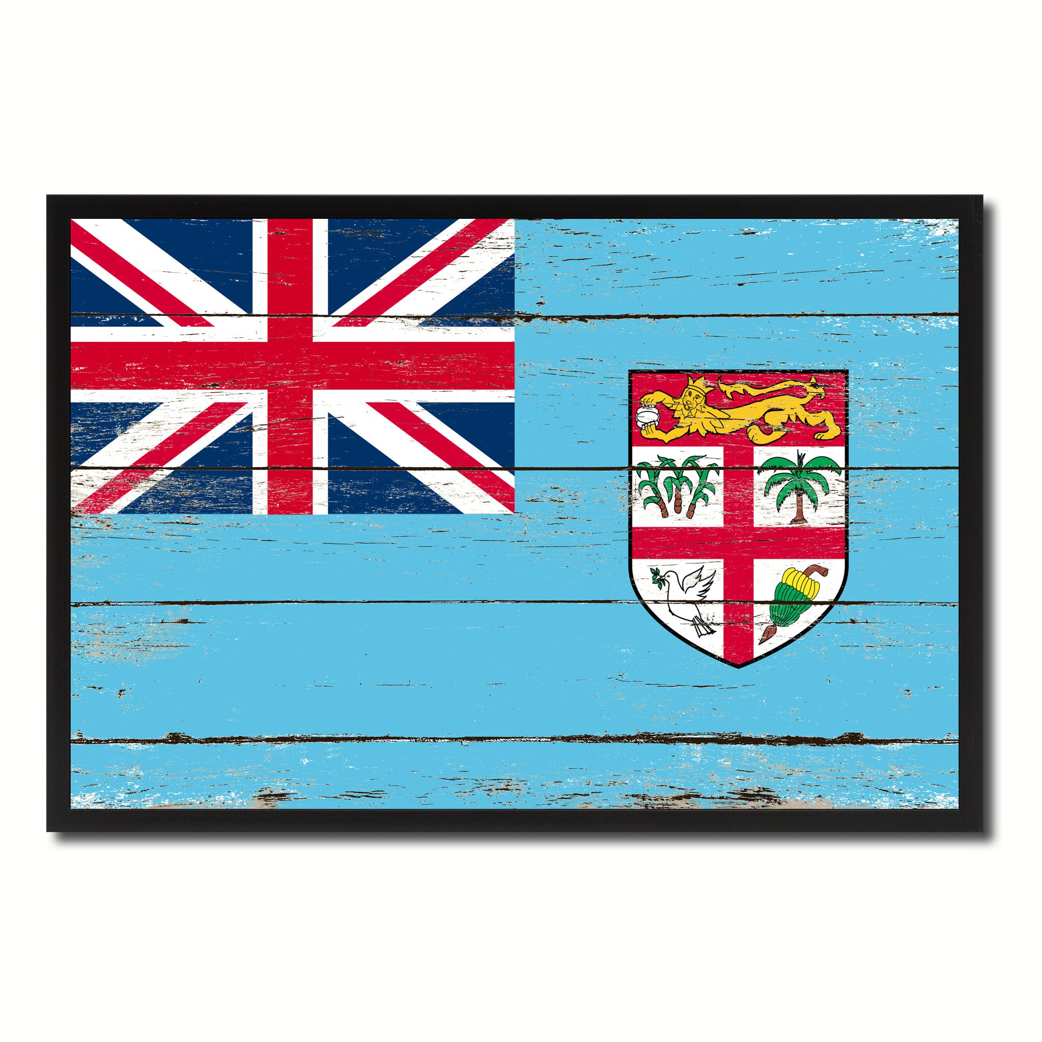 Fiji Country National Flag Vintage Canvas Print with Picture Frame Home  Decor Wall Art Collection Gift Ideas