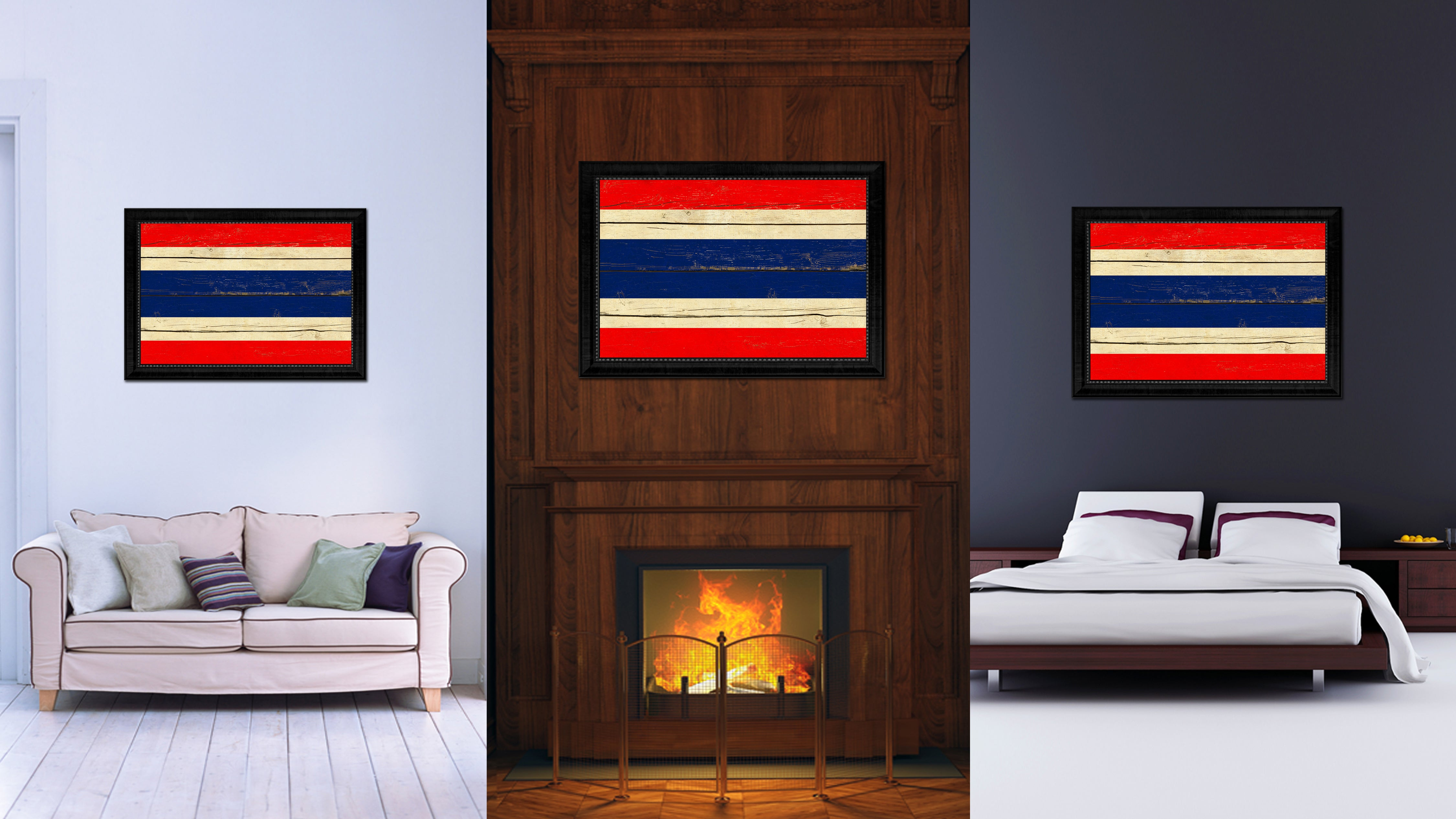 Thailand Country Flag Vintage Canvas Print with Black Picture Frame Home Decor Gifts Wall Art Decoration Artwork