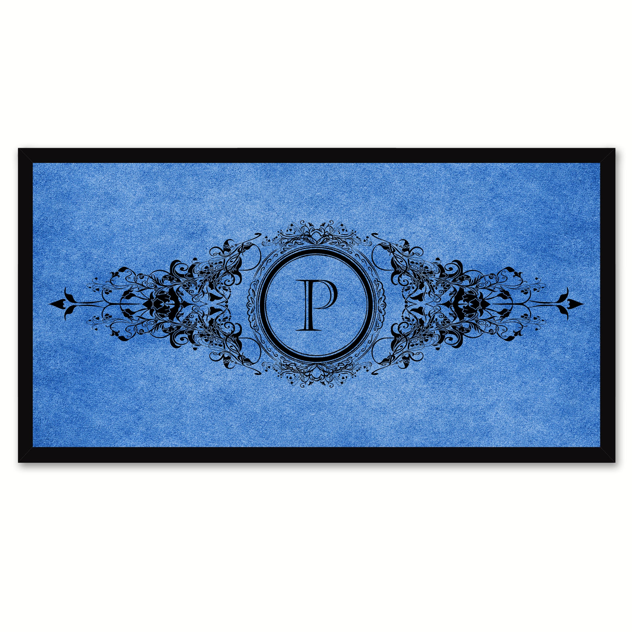 Alphabet Letter P Blue Canvas Print, Black Custom Frame