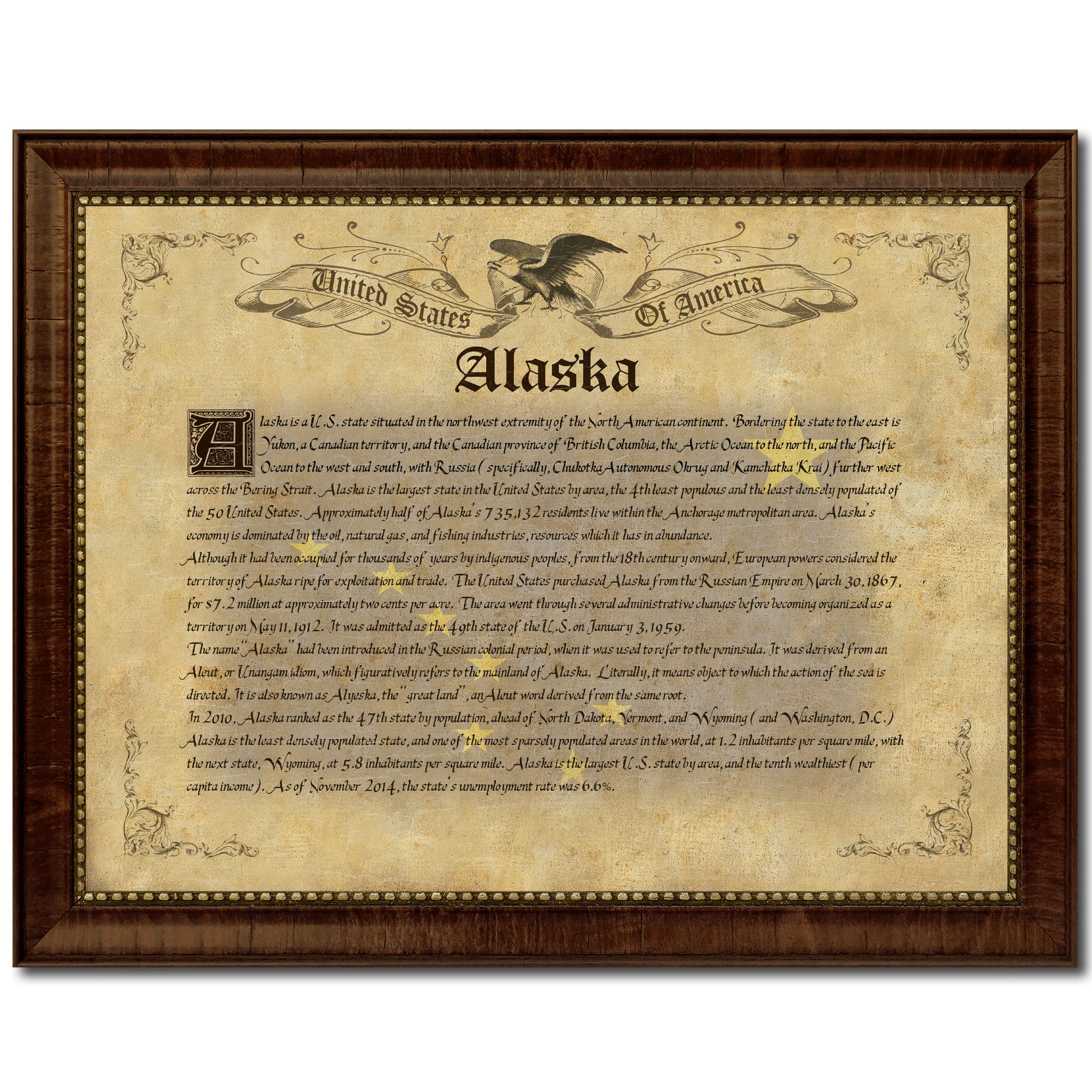 Alaska Vintage History Flag Canvas Print, Picture Frame Gift Ideas Home Décor Wall Art Decoration